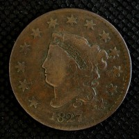 1827 LIBERTY HEAD LARGE CENT 1c F12