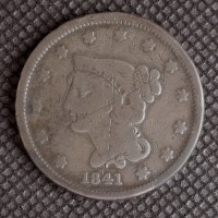 1841 LIBERTY HEAD LARGE CENT 1c VG8