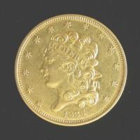 1834 LgPl4 CLASSIC HEAD $5 GOLD $5 AU53