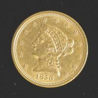 1856 LIBERTY $2 50 GOLD $2.50 AU50