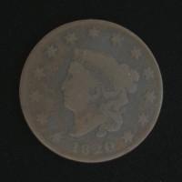 1820 SD LIBERTY HEAD LARGE CENT 1c VG8