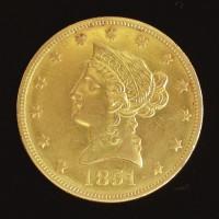 1851-O LIBERTY $10 GOLD $10 MS63
