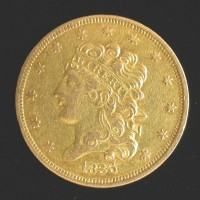 1836 CLASSIC HEAD $5 GOLD $5 AU50
