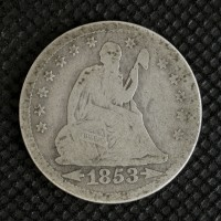 1853 Arr LIBERTY SEATED QUARTER DOLLAR 25c G/AG