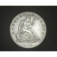 1861-S LIBERTY SEATED HALF DOLLAR 50c EF40