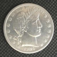 1904-O BARBER HALF DOLLAR 50c AU50