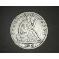 1846 TD LIBERTY SEATED HALF DOLLAR 50c VG10