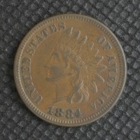 1884 INDIAN CENT 1c EF45