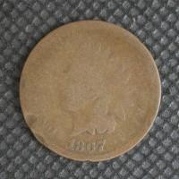 1867 INDIAN CENT 1c AG/G
