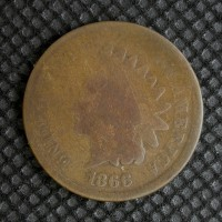 1866 INDIAN CENT 1c AG/G