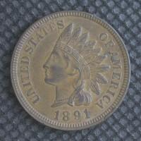 1891 INDIAN CENT 1c AU58