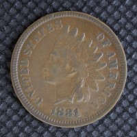 1881 INDIAN CENT 1c VF35
