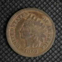 1869 INDIAN CENT 1c VF35