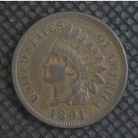 1891 INDIAN CENT 1c AU50