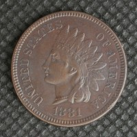 1881 INDIAN CENT 1c AU53