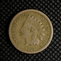 1860 Rounded Bust INDIAN CENT 1c VG8
