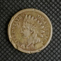 1860 Rounded Bust INDIAN CENT 1c VF35