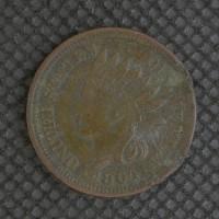 1864 BR INDIAN CENT 1c AU50