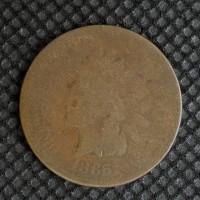 1865 Pl5 INDIAN CENT 1c AG-G