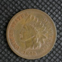 1865 Fancy5 INDIAN CENT 1c VF20