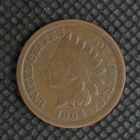 1864 BR INDIAN CENT 1c F12