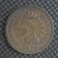 1891 INDIAN CENT 1c VG8