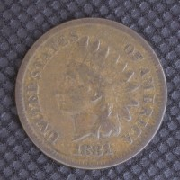 1881 INDIAN CENT 1c VF20
