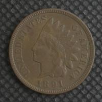 1891 INDIAN CENT 1c EF40