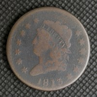 1813 CLASSIC HEAD LARGE CENT 1c VG8