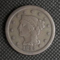 1844/81 LIBERTY HEAD LARGE CENT 1c F15