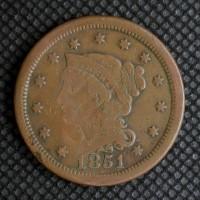 1851 LIBERTY HEAD LARGE CENT 1c VF20