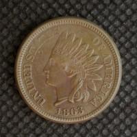 1863 INDIAN CENT 1c AU50