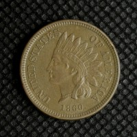 1860 Rounded Bust INDIAN CENT 1c AU50