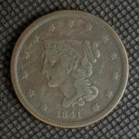 1841 LIBERTY HEAD LARGE CENT 1c VF20
