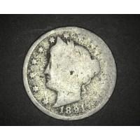1891 LIBERTY NICKEL 5c (Nickel) AG3