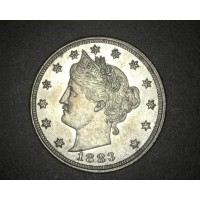 1883 No Cents LIBERTY NICKEL 5c (Nickel) AU55