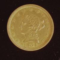 1854 LIBERTY $2 50 GOLD $2.50 EF40