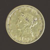 1853 LIBERTY $2 50 GOLD $2.50 EF40