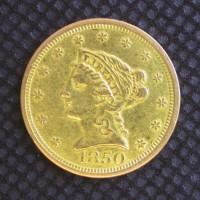 1850 LIBERTY $2 50 GOLD $2.50 EF40