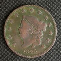 1826 LIBERTY HEAD LARGE CENT 1c F12