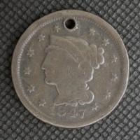 1847 LIBERTY HEAD LARGE CENT 1c VG8