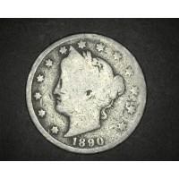 1890 LIBERTY NICKEL 5c (Nickel) G4