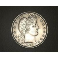 1892 BARBER QUARTER DOLLAR 25c AU50