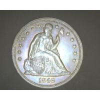 1848 LIBERTY SEATED DOLLAR $1 AU53