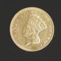 1878 INDIAN $3 00 GOLD $3 AU50