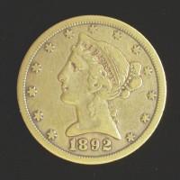 1892-CC LIBERTY $5 GOLD $5 VF30