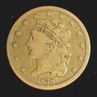1838 CLASSIC HEAD $5 GOLD $5 F18