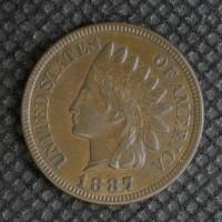 1887 INDIAN CENT 1c AU50