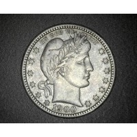 1900-S BARBER QUARTER DOLLAR 25c EF45
