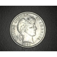 1892 BARBER DIME 10c AU50